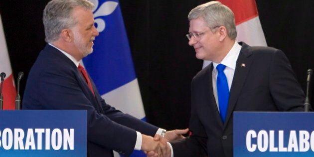 Harper, Quebec Premier Philippe Couillard Announce Extension Of Gas-Tax