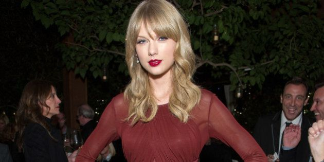 WEST HOLLYWOOD, CA - NOVEMBER 21: Taylor Swift attends the Weinstein Company's holiday party at RivaBella...