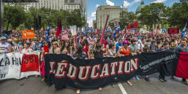 Students protest a hike in tuition fees on June 22, 2012 in Montreal, Canada. After two weeks of relative...
