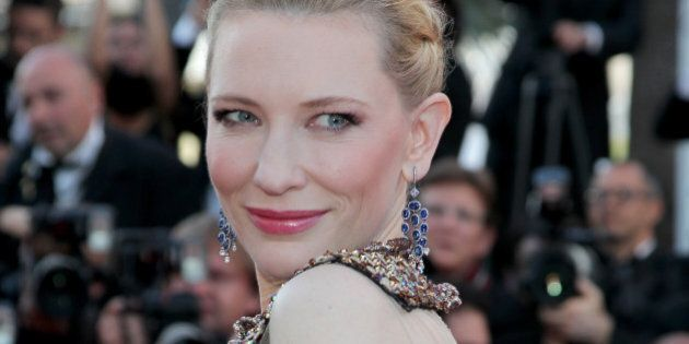 CANNES, FRANCE - MAY 16: Actress Cate Blanchett attends the 'How To Train Your Dragon 2' premiere during...