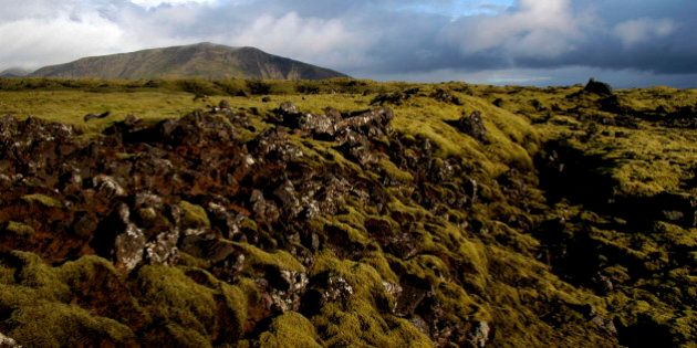 Iceland, Volcanic Landscape, View over green rocky landscape toward distant hill. (Photo by: Eye Ubiquitous/UIG via Getty Images)