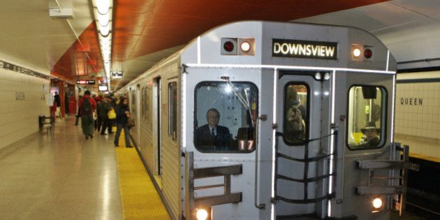 TTC Subway Train arrives in the Queen St Station North Bound with a driver. TTC discussing plans for...