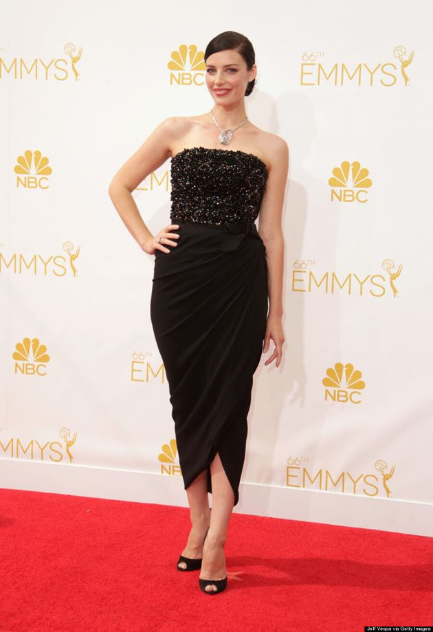 Jessica Pare's 2014 Emmys Dress Is Spot-On Sexy