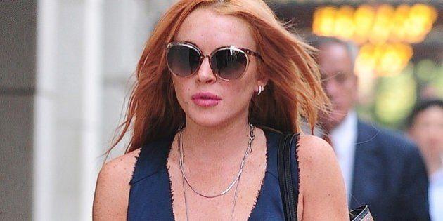 NEW YORK, NY - SEPTEMBER 11: Lindsay Lohan is seen in Soho on September 11, 2013 in New York City. (Photo...