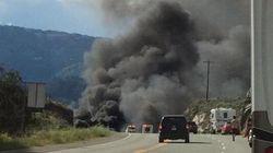 Truck Crash Fire Closes Highway