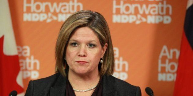In the Queen's Park media studio Andrea Horwath gives his comment on Don Drummond's Commission on the...