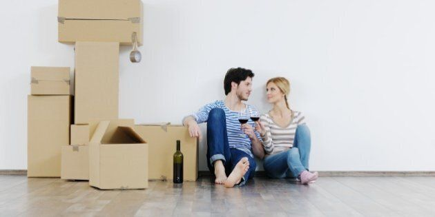 happy Young couple moving in new