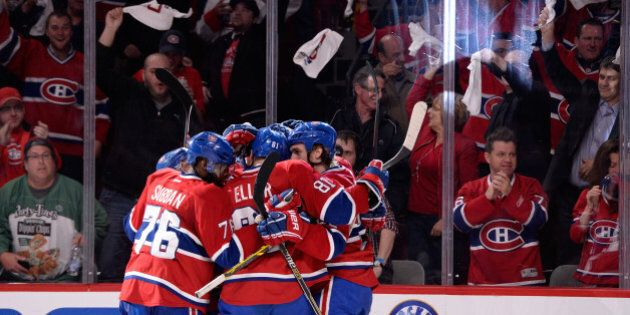 MONTREAL, QC - MAY 27: Rene Bourque #17 of the Montreal Canadiens celebrates his second periodgoal at...