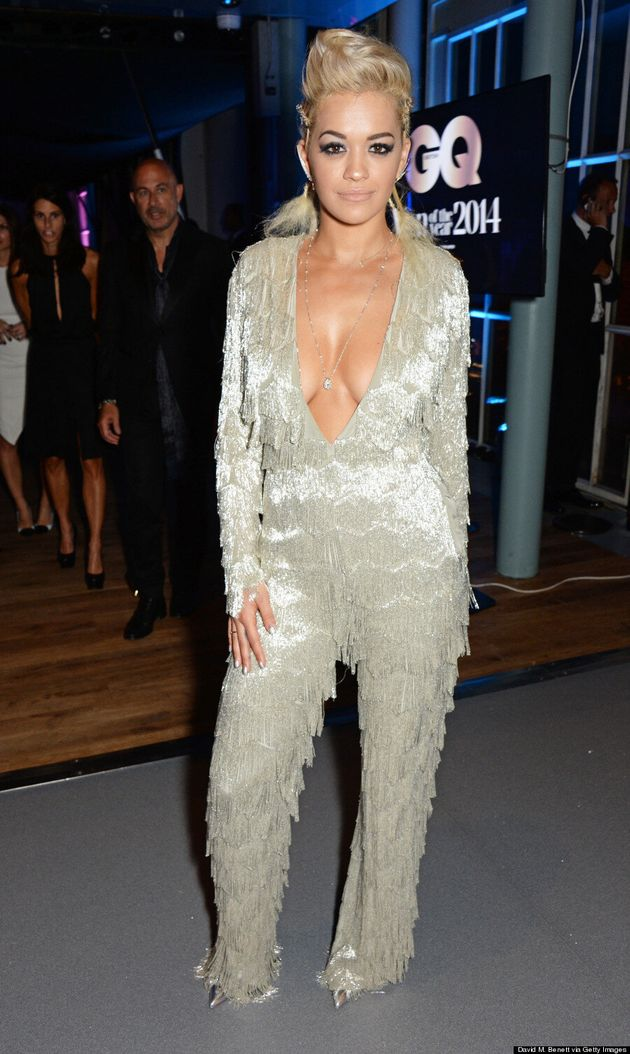 Rita Ora Makes Quite The Impression In Plunging Fringed