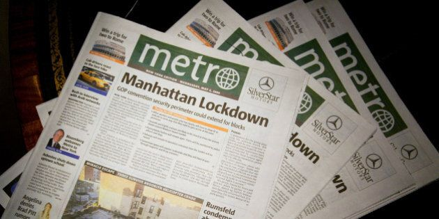 NEW YORK - MAY 5: The first edition of Metro newspaper is seen May 5, 2004 in New York City. Metro, a...