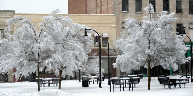 DURHAM, NC - FEBRUARY 13: Branches weighted with ice hang over empty city benches on February 13, 2014...