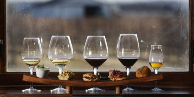 March 24, 2009 A flight of wines for tasting with food that compliments each wine at Reif Estate Winery...