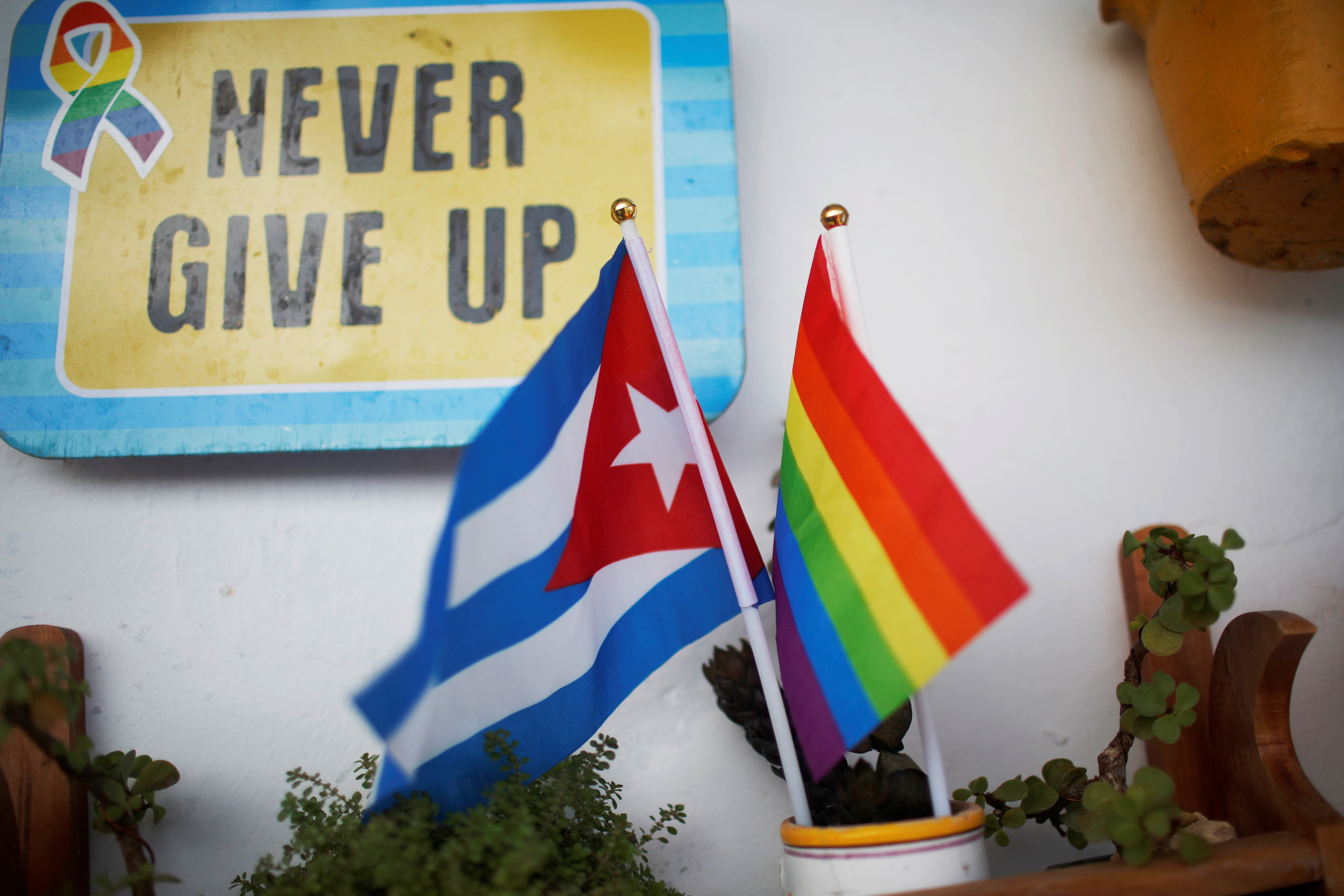 A Cuban flag and a Pride rainbow flag symbolising gay rights are seen at the balcony of the apartment of same-sex couple Mercedes Garcia and Onelia Miranda in Havana, Cuba August 10, 2018. Picture taken August 10, 2018. REUTERS/Tomas Bravo