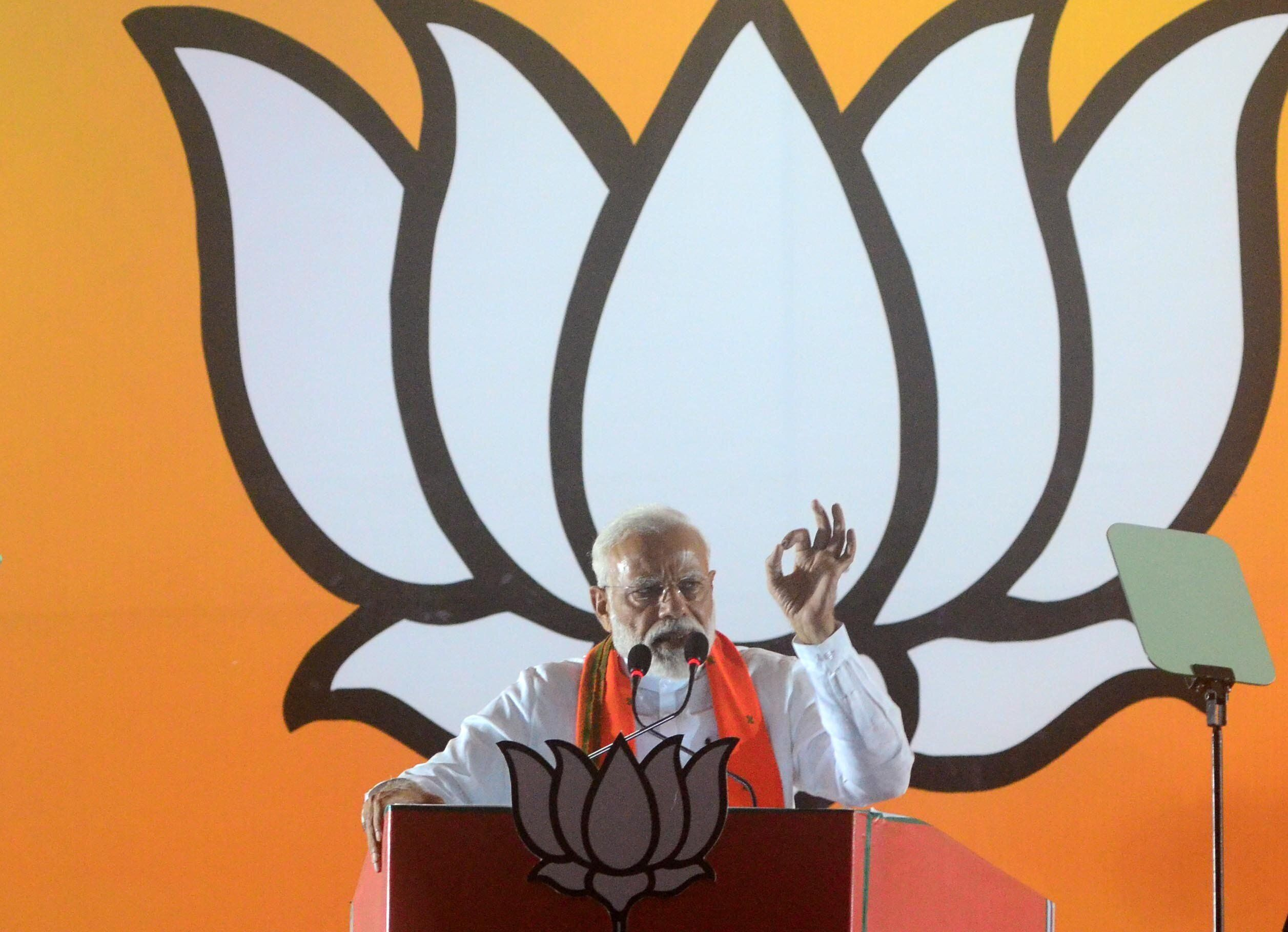Modi speaks during his public rally in UP ahead of 6th phase of