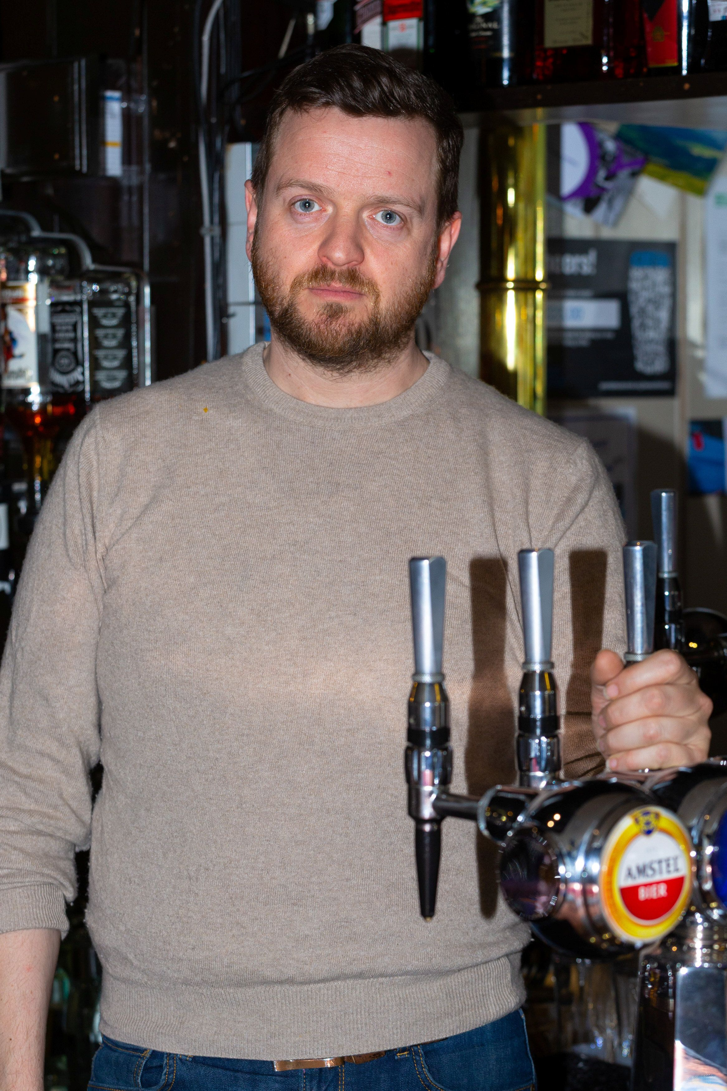 **PICTURE RELEASED FOR SUNDAY PRINT MEDIA - ONLINE EMBARGO UNTIL 6.00AM / SUNDAY 12 MAY, 2019**  Pub landlord Patrick Trenter, 38, at his pub the George and Dragon in Westerham, Kent. See SWNS story SWSYfarage. Former UKIP leader Nigel Farage has been banned from his local pub after he allegedly made a swift exit when he was involved in a head on crash with the landlord. Patrick Tranter, 38, was driving home with his one-year-old son when his Jaguar was hit by Farage's Range Rover, he claims. But instead of checking on Patrick and his son, the Eurosceptic MEP is said to have fled the scene. Patrick and his shaken baby son George were taken to hospital in an ambulance, and he claims his car has been written off.