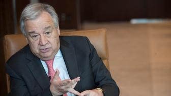 "United Nations Secretary-General Antonio Guterres speaks during an interview at United Nations headquarters on Tuesday, May 7, 2019. Guterres said the world has to change, not in small incremental ways but in big ""transformative"" ways into a green economy with electric vehicles and ""clean cities"" because the alternative ""would mean a catastrophic situation for the whole world."" (AP Photo/Mary Altaffer)"