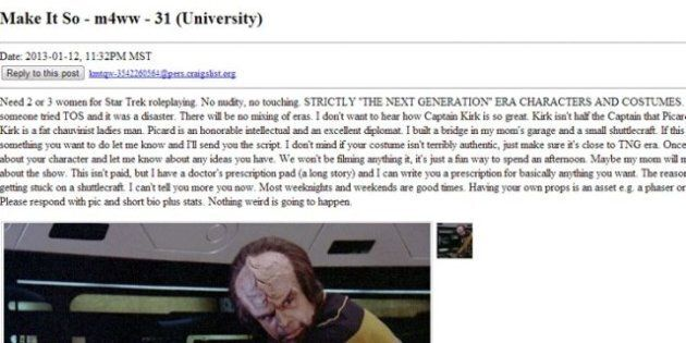 Edmonton Star Trek Fan's Craigslist Ad Seeks Women For Role Play, Not