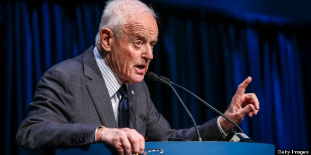 TORONTO, ON - APRIL 24: Peter Munk, Founder and Chairman of Barrick Gold speaking at their Annual General...