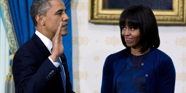 Michelle Obama Shows Off New Bangs, Dons Reed Krakoff To Swearing In