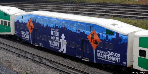 According to a Liberal insider the Conservative government has used federal tax dollars to advertise their economic action plan. A GO train adorned with Conservative advertising pulled into Toronto's Union Station Wednesday afternoon. (Photo by Lucas Oleniuk/Toronto Star via Getty Images)