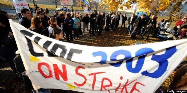 NOV 5 2008 pics of. . cupe union members rally at the keele st entraance to york university as their...