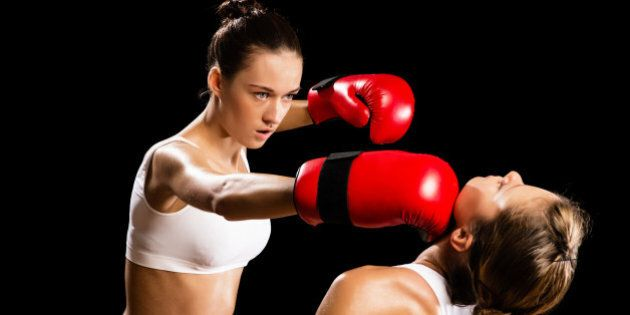 aggressive boxing woman