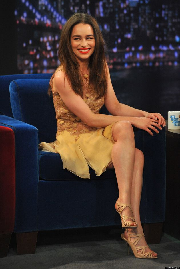 Emilia Clarke On 'Jimmy Fallon': 'Game Of Thrones' Star Wows In Nude Dress