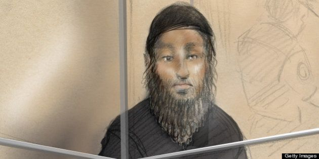 This courtroom sketch shows Raed Jaser appearing in court in Toronto on April 23, 2013. Two foreign nationals...