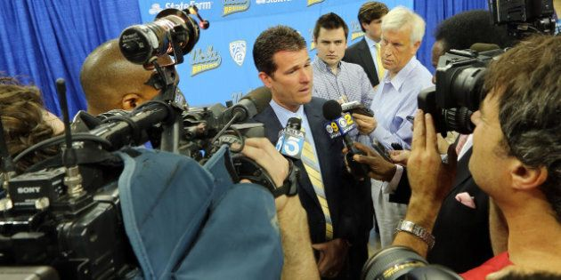 WESTWOOD, CA - APRIL 02:  Steve Alford answers questions from local media at a press conference after being introduced as UCLA's new head men's basketball coach on April 2, 2013 in Westwood, California.  (Photo by Victor Decolongon/Getty Images)