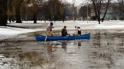 WATCH: University Students Go Canoeing On Flooded Campus