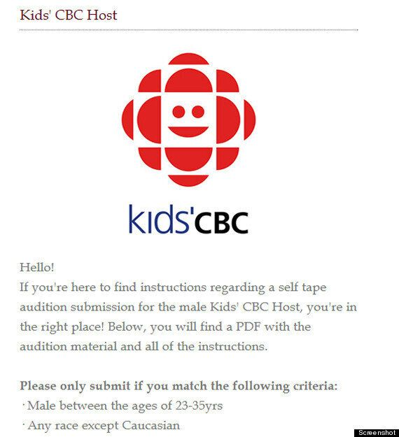 'Any Race Except Caucasian' Posting For CBC Job Raises
