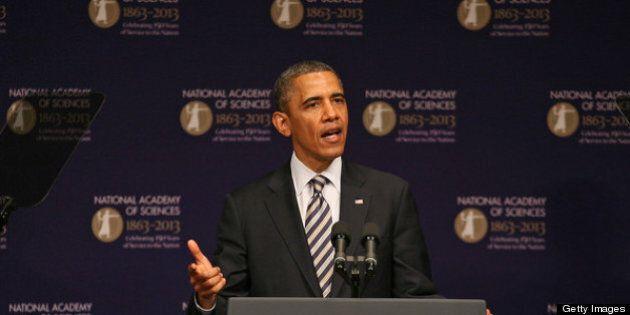 WASHINGTON, DC - APRIL 29: (AFP OUT) U.S. President Barack Obama speaks at the National Academy of Sciences...
