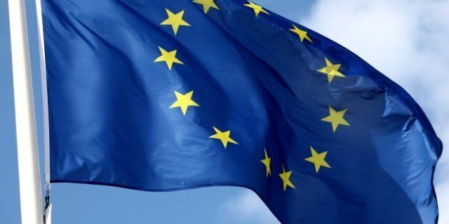 the flag of europe waving