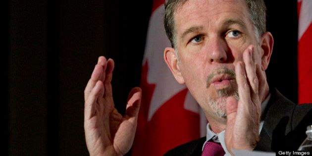 Reed Hastings, president and chief executive officer of Netflix Inc., speaks during a luncheon at the Canadian Club of Toronto in Toronto, Ontario, Canada, on Friday, Feb. 3, 2011. Netflix Inc. has no plans to get into sports content or gaming and will focus solely on movies and TV shows, said Hastings. Photographer: Norm Betts/Bloomberg via Getty Images