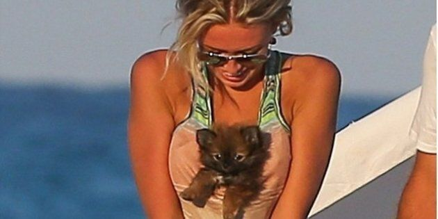 Paulina Gretzky's Boobs Carry Puppy In Miami