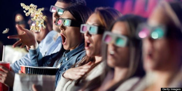 Audience Watching 3 d Movie with 3-d