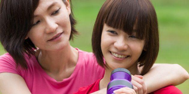 chinese girls friend having fun ...