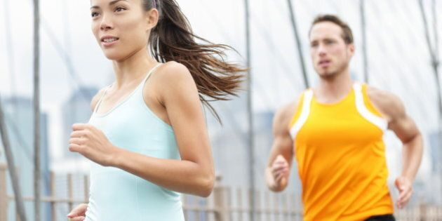 running couple. woman and