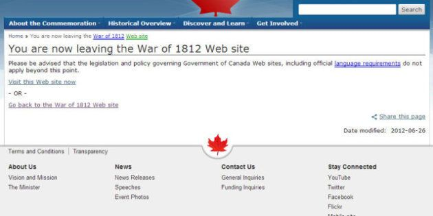 War Of 1812 Website's Exit Most Popular Page After