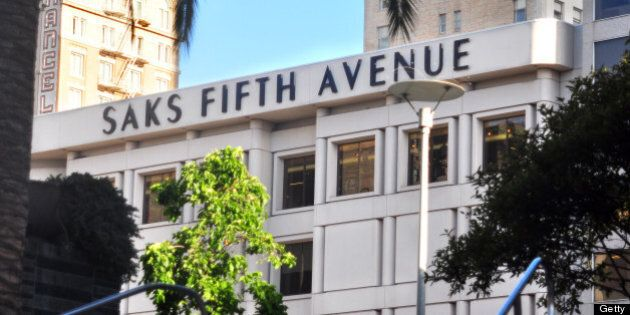SAN FRANCISCO, CA - MAY 18, 2013: The Saks Fifth Avenue store on Post Street is among the upscale retailers...