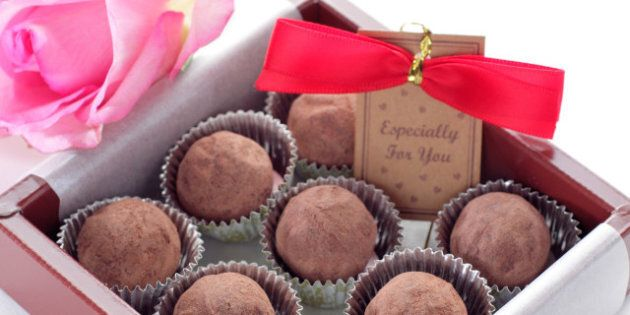chocolate truffle over white...