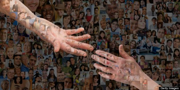 Montage of hands reaching out against images of people