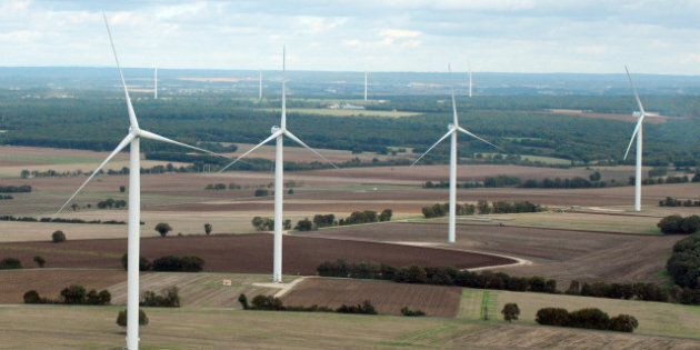 Aerial view taken on October 10, 2012 shows wind turbines in the countryside between Poitiers and Angouleme....