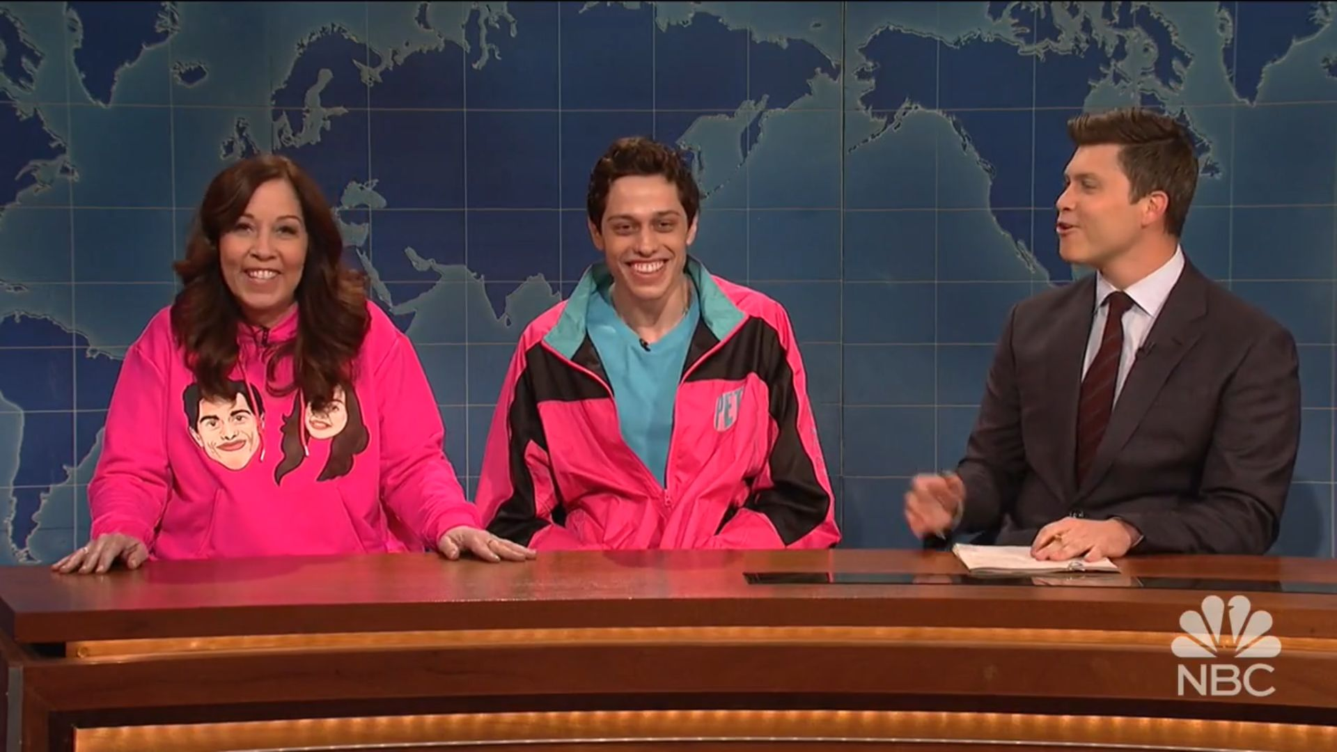 "Comedian Pete Davidson (center) appearing brought his mother, Amy Davidson, on ""Saturday Night Live."""