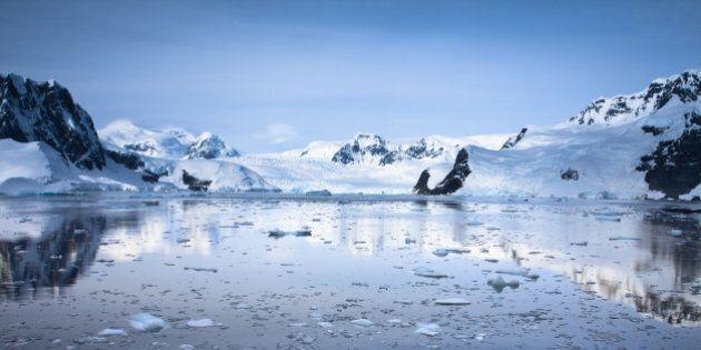 boat in antarctic waters