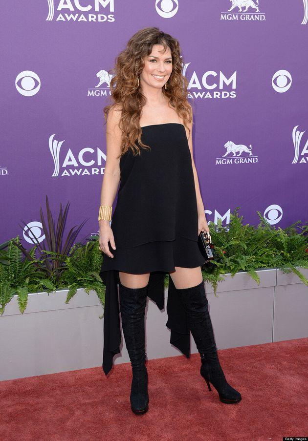 Shania Twain at the ACM Awards: Singer Wears Odd Dress, Thigh High Boots