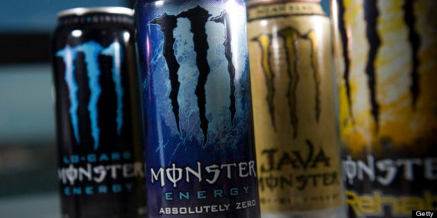 Cans of Monster Beverage Corp. energy drinks are arranged for a photograph in San Francisco, California,...