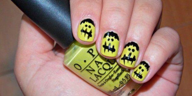 Nail Art Designs: DIY Halloween Frankenstein
