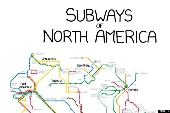 XKCD Draws Every Subway Line In North America On One