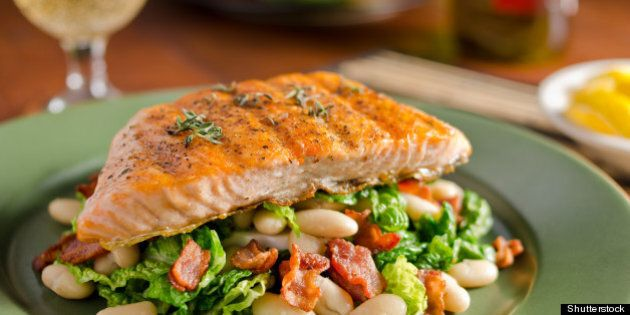 grilled salmon with white beans